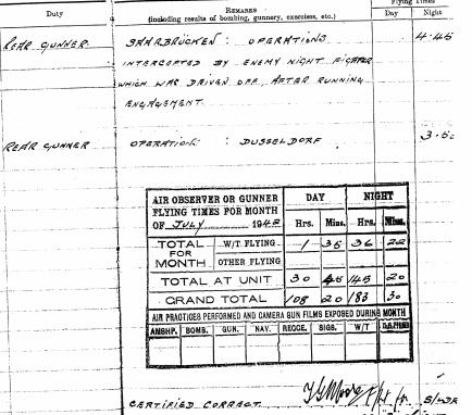 Grandad's log book entry, 29/07/42